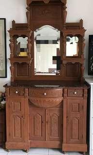 Restored vintage teak wood Peranakan dresser