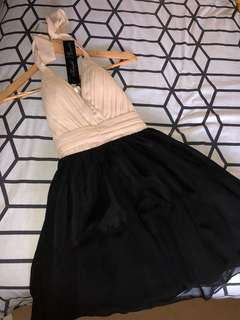 Cocktail dress with beige bustier