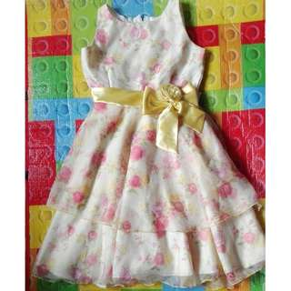 Worn once golden yellow dress for 9-11yo