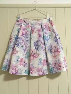 Forever New Blue, Pink And Purple Floral Skirt Size 10