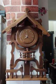 Vintage Teak Wood Wall Clock (Not function)