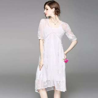 White embroidered dress with slip
