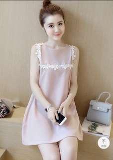 BN Pink A-line Flare Lace Crochet Maternity Nursing Dress