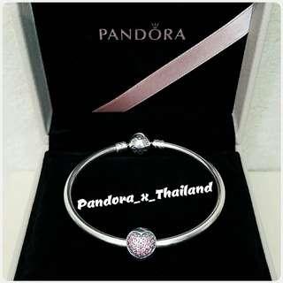 PANDORA 粉紅閃石心心款 定位珠 - 保證真品*購自HK專櫃