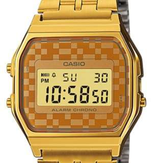 Casio UNISEX RETRO GOLD Steel Camo Watch A159WGEA-9ADF