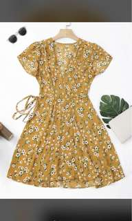 Mustard floral dress (wrap waist tie)