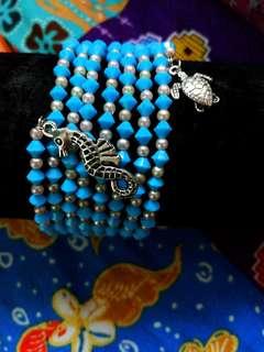 Handmade Blue crystal  / pearl beads bangle