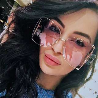 Oversized Side Hollow Cut Out Frame Butterfly Shaped Pearl Leg Sunglasses / Glasses