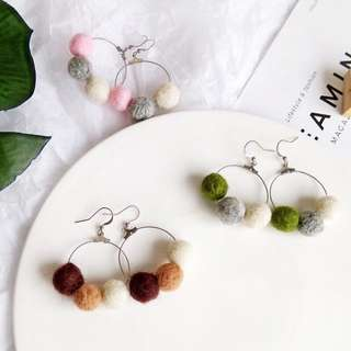 🔥 Tri-coloured pastel minimalistic dainty round hoop earrings