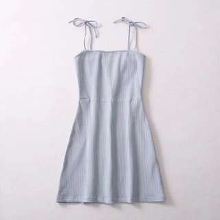 Baby Blue Summer European Dress tie on
