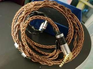 (手作線)冷涷8絞單晶銅銅合金耳機升級線20awg可做鍍銠 鍍金  3.5 2.5 灣直頭 mmcx 插fender campfire shure westone  shure