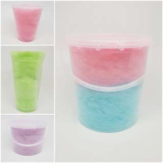 Prepack candy floss and popcorn in cup/tub