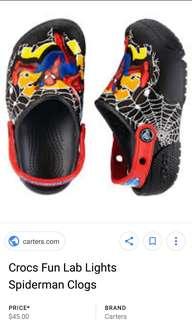 Baby Spiderman Crocs with lights
