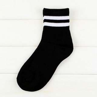 Long/High Black Socks with White Stripes Ulzzang