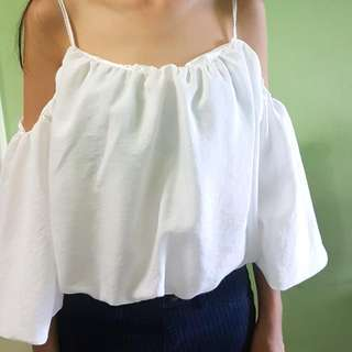 Soft White Off Shoulder Top Size S