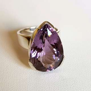 Amethyst Pear Shaped Ring, Size 8 3/4 US, S/S, Item #0229