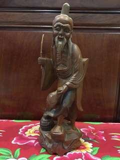 Vintage Carved Wood Fisherman