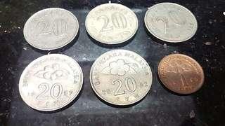 (舊款1968,1981,1987年)馬來西亞令吉硬幣-(六個)懷舊