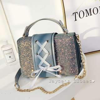 [3 colours] Shimmery Lace-Up Leather Sling Bag