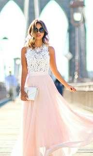 Long Pink chiffon Dress