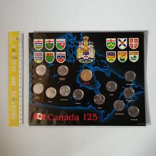 1992 Canada 125th Anniversary Provincial 13 Coin Set