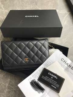 Chanel caviar 黑金荔枝皮金鍊wallet on Chain WOC
