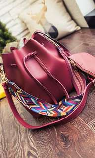 Red buckle tote bag