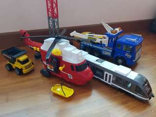 Fastlane helicopter, crane, train and  tow truck.