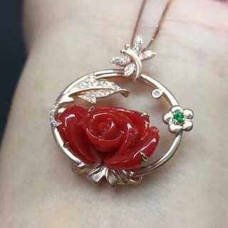 🍀日本阿卡珊瑚玫瑰吊墜💍💍顏色品質如圖美麗,18K金鑲嵌天然鑽石💎雍容華貴,精緻美麗,批發價格