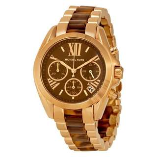 BRADSHAW CHRONOGRAPH BROWN DIAL ROSE GOLD-TONE AND TORTOISESHELL ACETATE LADIES WATCH MK5944