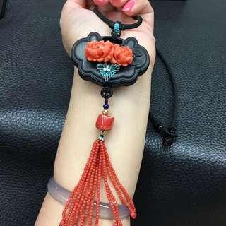 🍀臺灣莫莫珊瑚花手工編織項鍊💍💍天然黑檀木,顏色品質如圖美麗!特價