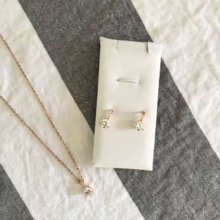 Rose Gold Diamond Necklace & Earrings