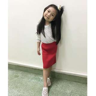 Girls Lace Top + Knitted Skirt