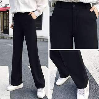 (XS~2XL) 2018 new Korean high waist drag pants leisure suit pants loose straight black pants