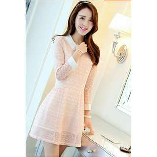 (Ready Stock) Lady Long Sleeve White Collar A-Line Pink/Blue Dress