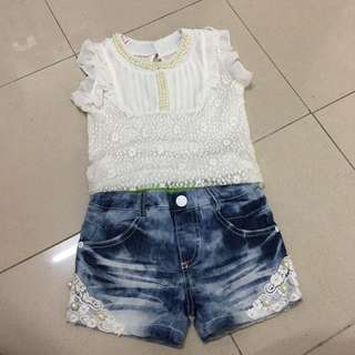 Girls Lace Top + Jeans Short
