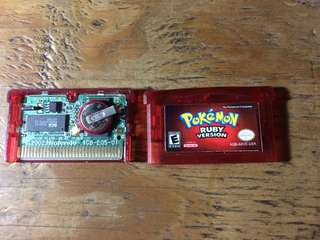Authentic GBA game Pokemon Ruby US cart Repro label