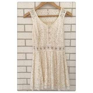 🚚 日本品牌INGNI 優雅氣質蕾絲洋裝 腰部性格裸空小洋裝