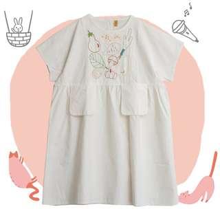 童趣系列刺繡蔬菜棉麻洋裝 連身裙