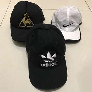 White Nike Featherlight Cap & Le Coq Sportif Cap & Adidas originals cap