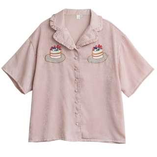 蛋糕刺繡粉色短袖襯衫