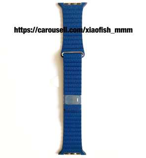 Apple Watch Strap 42mm Bright Blue Leather Loop - Large