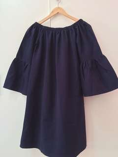 Dark Blue Off Shoulder Blouse