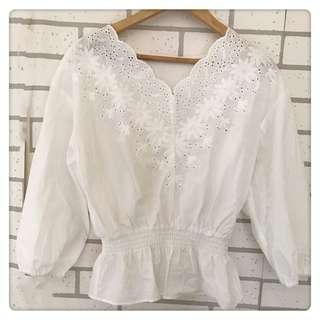 日本品牌GU 蕾絲V領白色九分袖