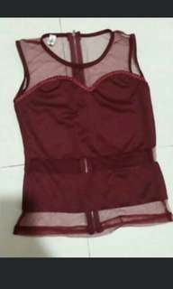 (Yes trades!)Maroon mesh sweetheart Top *Brand new *pm if int