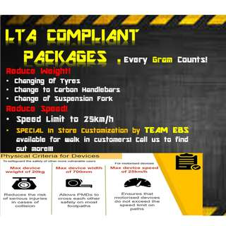 LTA Compliant Package for Electric Scooters / Reduce Speed / Reduce Weight of your Escooter /