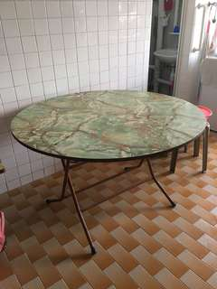 Antique wooden round table with steel stand