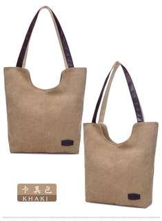 🚚 【Q夫妻】 shoulder bag 韓版 簡約 大容量 手提包 帆布包 休閒包 單肩包 女包 卡其色 B0508-4