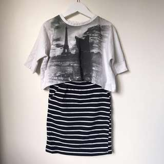 Girls batwing tee+ pencil skirt size 3-4