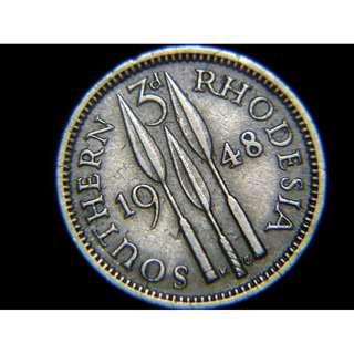 1948年英屬南羅德西亞(British Southern Rhodesia)三戰矛3便士鎳幣(英皇佐治六世像)